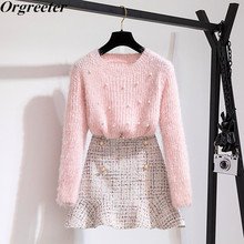 Autumn Spring New Fashion Two Piece Set Women Beaded Pullover Sweater and Plaid Tweed