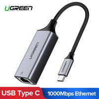 Ugreen USB C Ethernet USB-C to RJ45 Lan Adapter for MacBook Pro Samsung Galaxy S9/S8/Note 9 Type C Network Card USB Ethernet