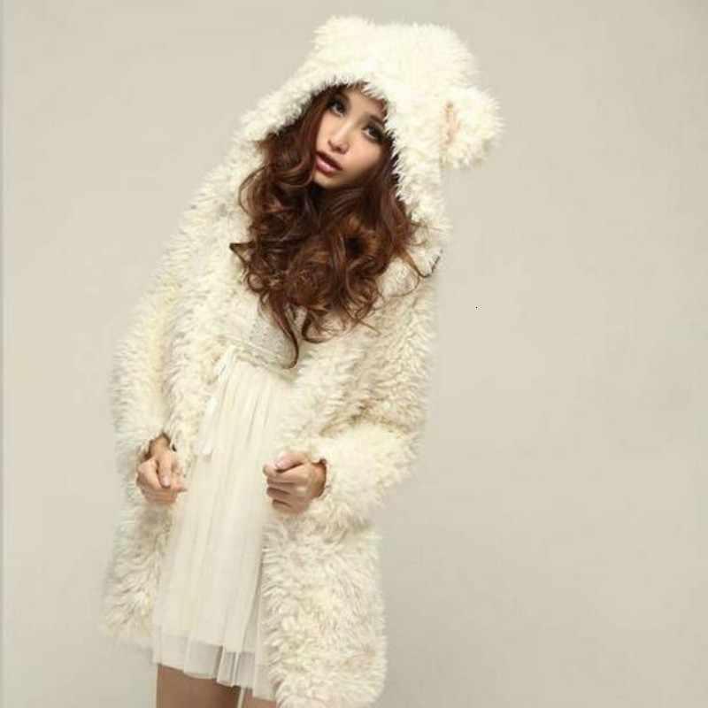 겨울 새로운 도착 패션 세련 된 여자 대학 귀여운 곰 귀 두꺼운 모피 스웨터 outwears 여자 스웨터 여자 화이트 크기 xl