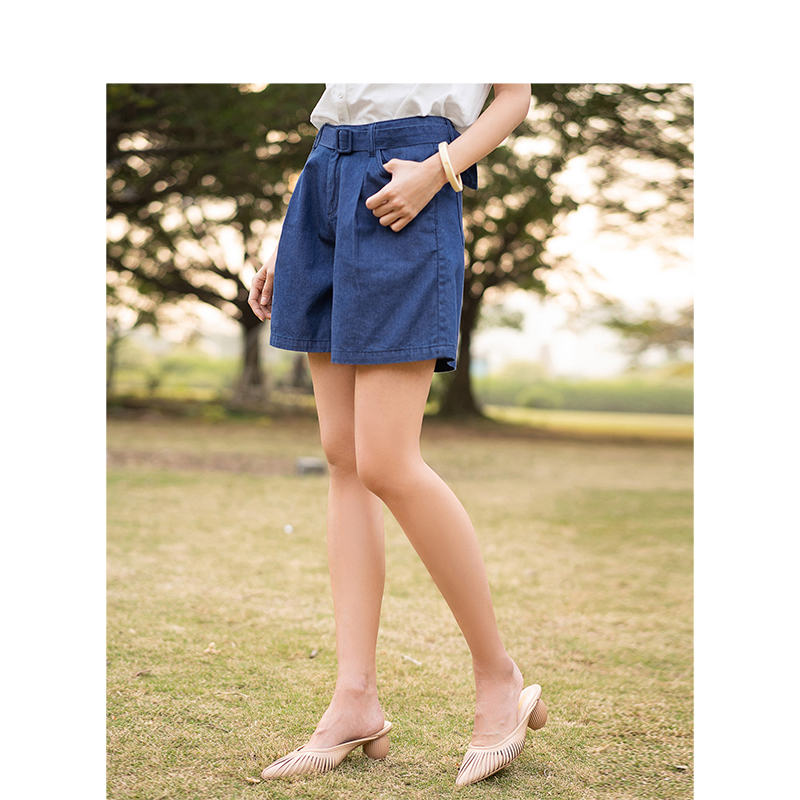 INMAN 2020 Summer New Arrival Pure Cotton Solid Color With Belt Literary Fashion Concise Style Shorts