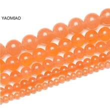 Free Shipping Colorful orange Chalcedony Jade 4/6/8/10/12/14mm Pick Size GEM Stone Beads Accessories For Fine Jewelry Making(China)