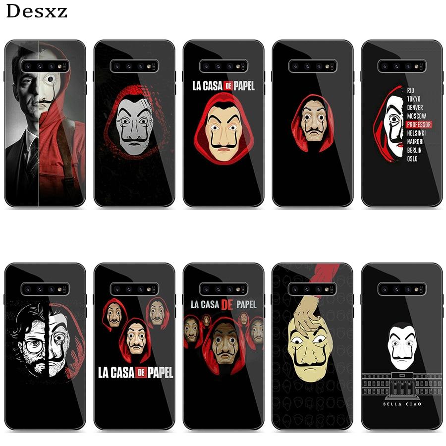 Phone Case Glass For Samsung A10 A20 A30 A40 A50 A60 A70 S7 Edge S8 S9 S10 Plus Cover TV Series Money Heist House Of Paper