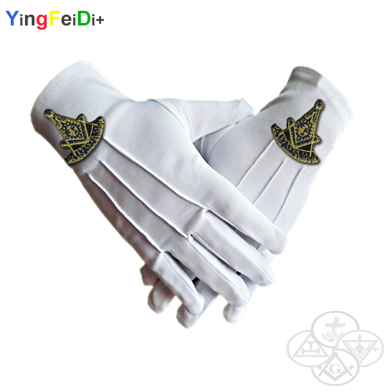 Past Masonic Masters Embroidered High-quality Polyester Gloves- [White]