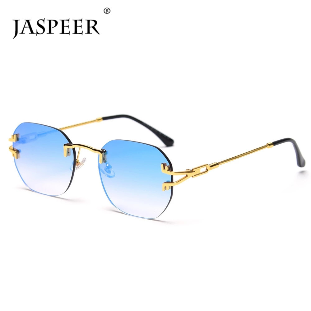 JASPEER Randlose Spiegel Gläser Frauen Retro Platz UV400 Sonnenbrille Für Männer Metall Gold Framless Shades Marke Designer
