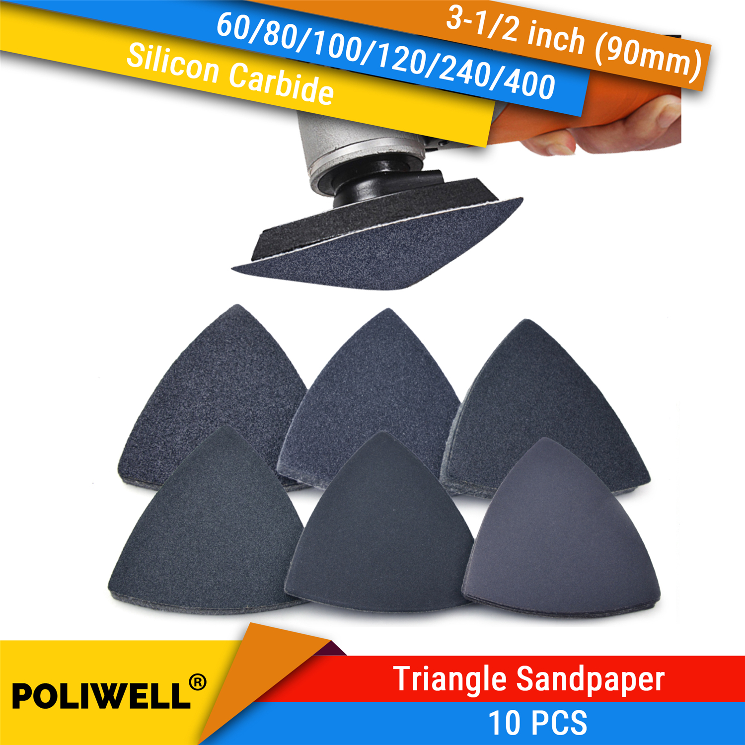 10Pcs Oscillating Multi Tools Hook & Loop Sanding Paper Saw Blade Triangular Sander Sandpaper Silicon Carbide Sanding Sheet For