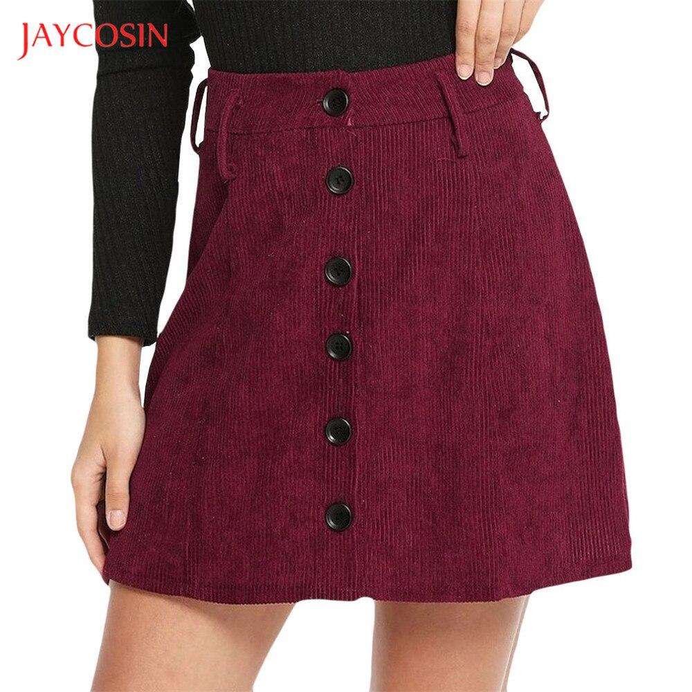 Jaycosin Clothes Women Corduroy Button Skirt Ladies Girls Party High Waist Skirts Winter Warm Corduroy Slim Short Skirt