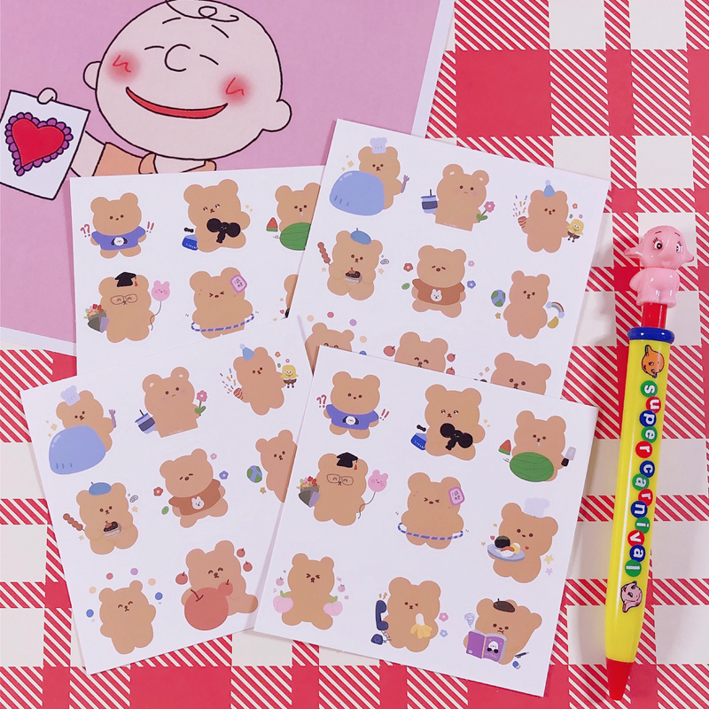 2Sheets/Lot Cartoon Cute Korea Style Ins Bear Fruit Phone Sticker DIY Scrapbooking Album Diary Label Decoration Stickers