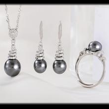 MeiBaPJ, 925 пробы, серебро, спиральная форма, Модный Ювелирный Набор, натуральный черный жемчуг, подвеска, кольцо, серьги, свадебные ювелирные изделия для женщин