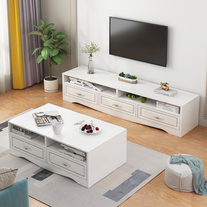 Northern European-Style Television Cabinet Teapoy Table Packaged Combination Modern Minimalist Small Apartment Floor Cabinet Liv