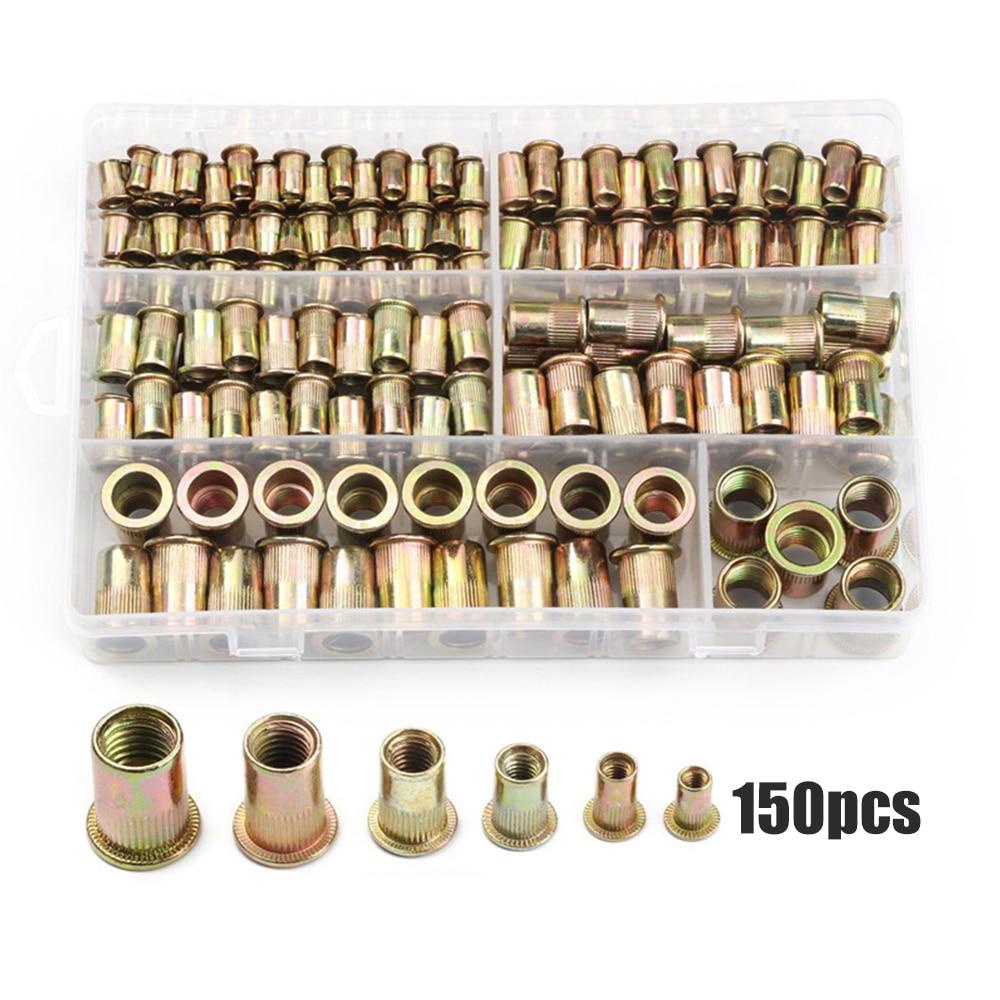 150pcs set M3 M4 M5 M6 M8 M10 Carbon Steel Rivet Nuts Insert Rivets Multi Size Flat Head Rivet Nuts Set Threaded Insert Nut Kit