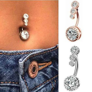 Navel Belly Button Ring Surgical Steel Bright Crystal Gem Ball Piercing Nombril Bar Round Navel Rings Sexy Jewellery image