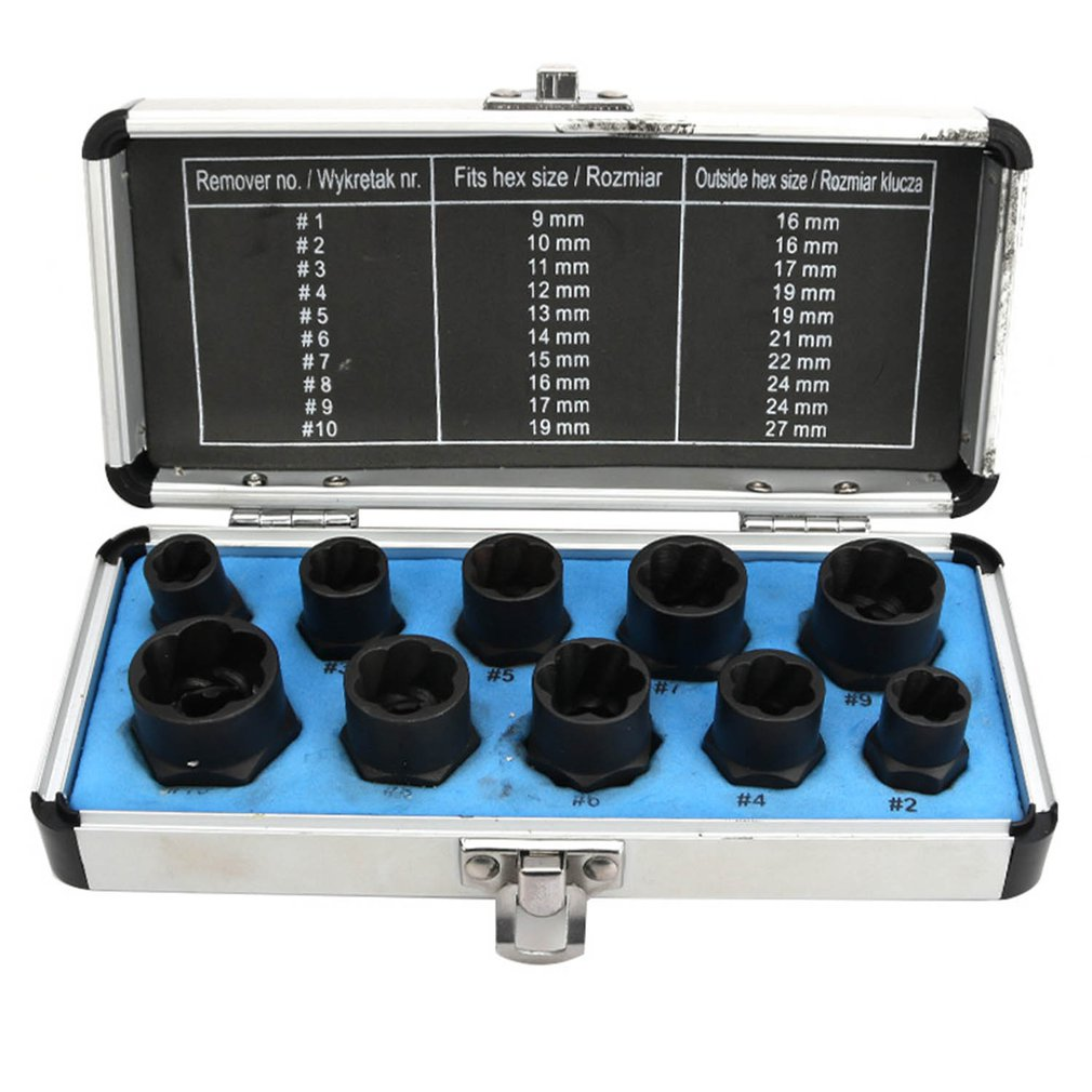 Damaged Bolt Nut Screw Remover Extractor Removal Set  Nut Removal Socket  Tool Threading  Hand Tools Kit  With Box