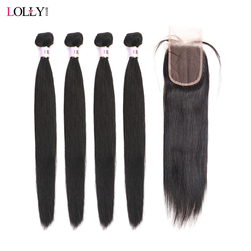 Lolly 4 Straight Hair Bundles With Closure Brazilian Human Hair Weaves Bundles With Closure Non Remy Lace Closure With Bundle
