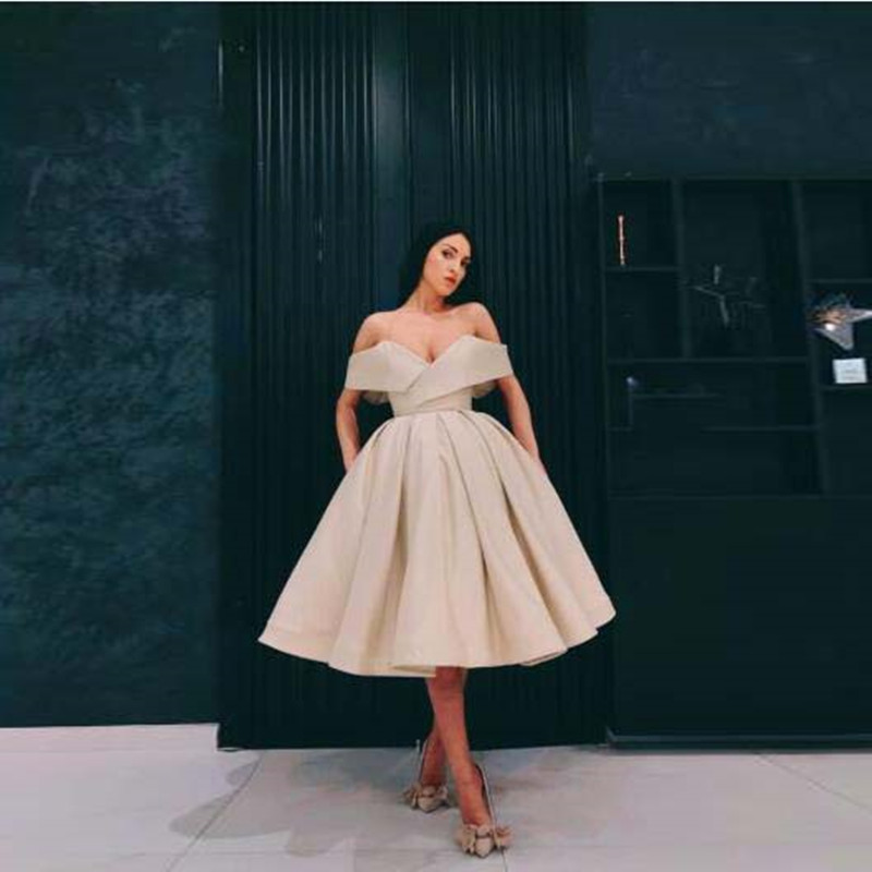 Robe De Soiree Beige Elegant Party Dresses Off Shoulder Vestido De Festa Longo Prom Gowns Ankle Length Formal Dresses Custom Dresses Aliexpress