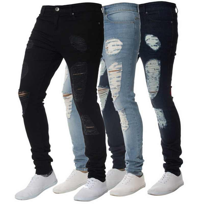 SFIT 2019 NEW Fashion Men Holes Jeans High Street Motorcycle Biker Jeans Men Hip Hop Ripped Slim Fit  Full Length jeans hombre