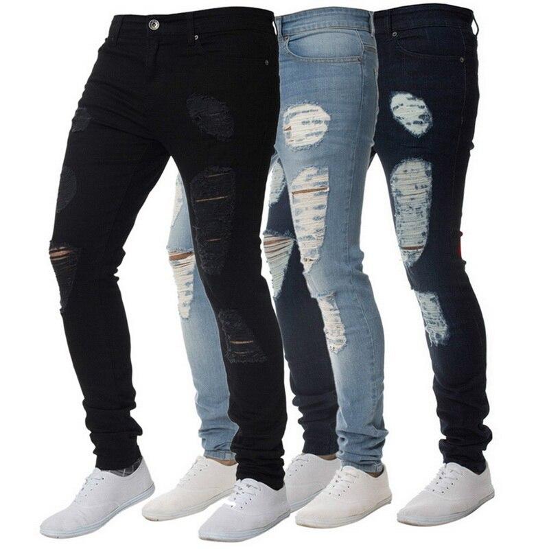 SFIT 2019 NEW Fashion Men Holes Jeans High Street Motorcycle Biker Jeans Men Hip Hop Ripped Slim Fit  Full Length Jeans Hombre