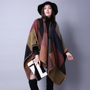 Image 2 - Ponchos Ruanas Para Mujer Womens Shawl Vrouwelijke Capes Imitatie Kasjmier Mantel Verdikking Warm Winter Coat Dames Pashmina Poncho