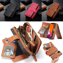 Zipper Wallet Leather Case for iPhone 11 Pro Max Xr X Xs 8 7 6 6S Plus Magnetic Detachable Handbag Pouch Cover w/ 11 Card Holder