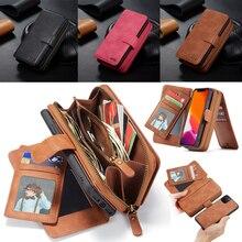 กระเป๋าสตางค์หนังซิปสำหรับ iPhone 11 Pro Max Xr Xs X 8 7 6 6S Plus แม่เหล็กที่ถอดออกได้กระเป๋าถือกระเป๋า w/11 Card Holder