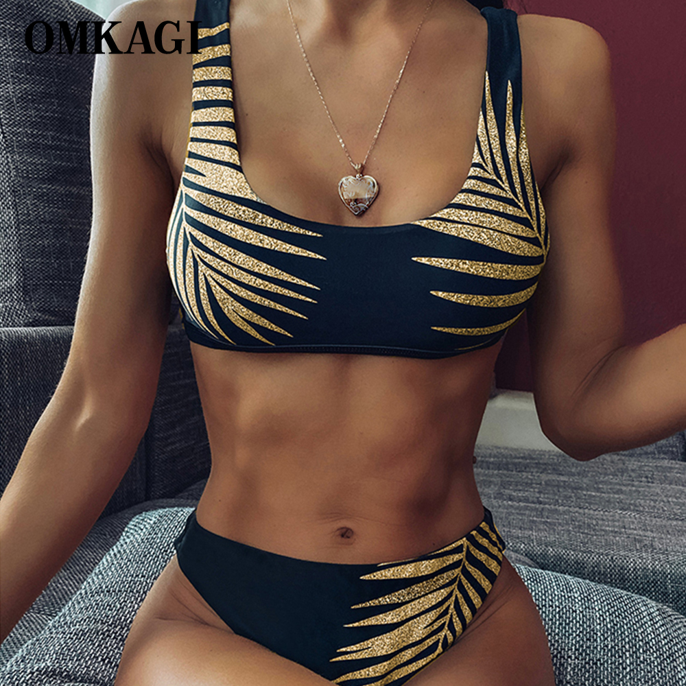 OMKAGI High Waist Bikini 2020 Swimsuit Women Sexy Print Bikinis Black Biquini Leaf Print Bikini Brazilian Micro Swimwear Women