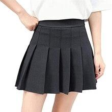 Uniform Female Loose Casual A Line Short Bottoms Women High Waist Pleated Skirts Girls Tennis School Solid Color Mini Skirt