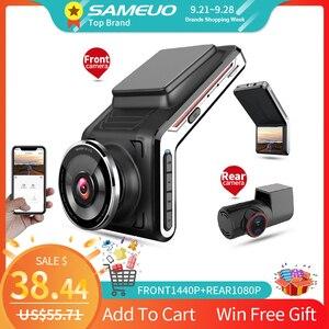 Sameuo U2000 WIFI dash cam 2k front and rear 1080p 2 camera Lens CAR dvr smart car dvrs Auto Night Vision 24H Parking Monitor()
