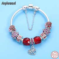 STEP FORWARD Red Series Heart Charm Bracelet Solid 925 Sterling Silver Bracelets Bangles for Women CZ Paved Fashion Jewelry Gift