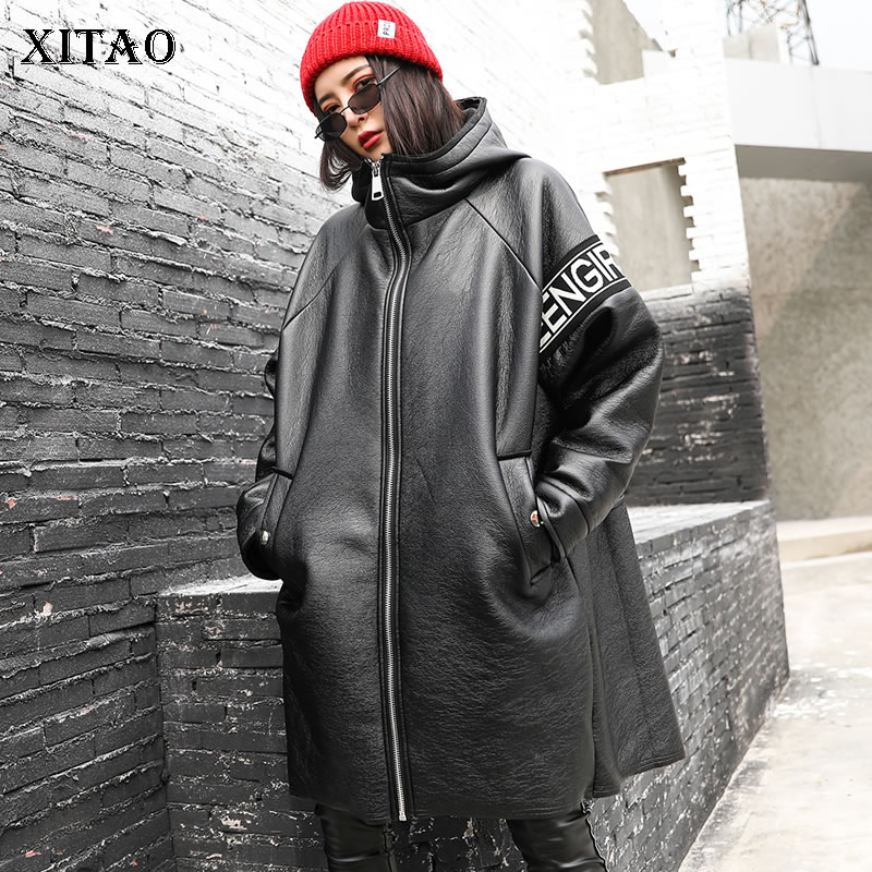 XITAO Irregular Patchwork Pu Thick Trench Women Clothes 2019 Fashion Loose Casual Letter Hooded Collar Coat Top Winter ZLL4442
