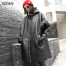 XITAO nieregularna patchworkowa Pu gruby wykop kobiet ubrania 2019 moda luźne dorywczo list kołnierz z kapturem płaszcz Top zima ZLL4442