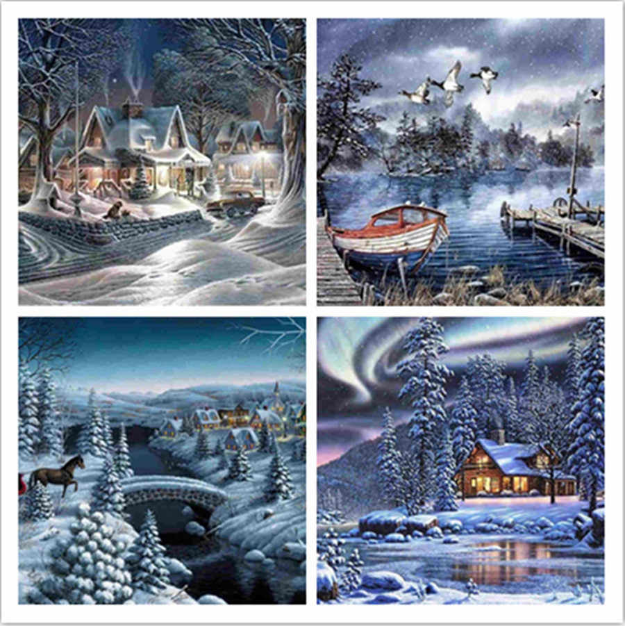 DIY Diamond Painting Landscape Winter Full drilling Cross Stitch Embroidery decoration Home Decoration