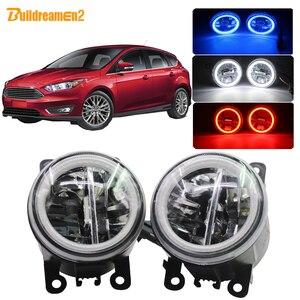 Buildreamen2 Car Styling H11 żarówka LED światło przeciwmgielne 4000lm Angel Eye światło do jazdy dziennej DRL 12V dla Ford Focus MK2 MK3 2004-2015