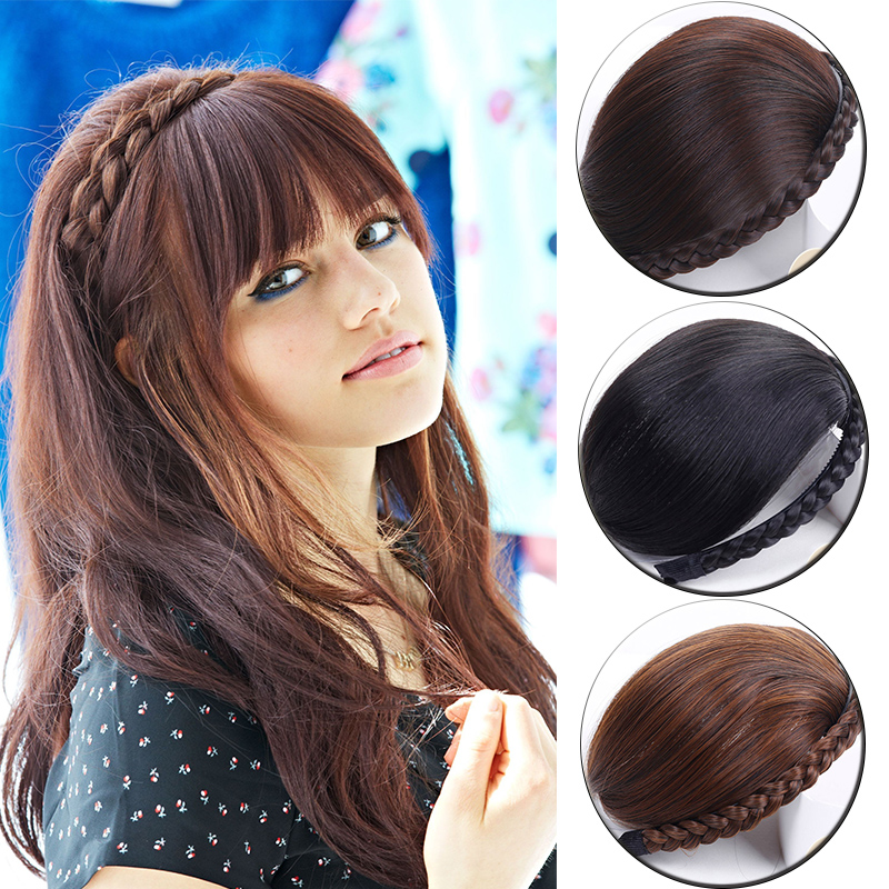 LUPU Synthetic Hair Bangs With Braid Natural Fake Hair Blunt Fringe Bang Clip In Hair Extensions Black Brown For Women