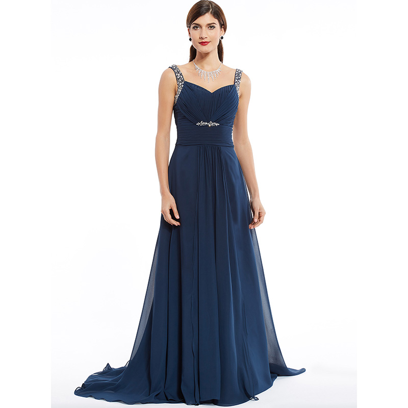 Dressv Dark Navy Long Evening Dress Cheap Beading Ruched Sleeveless Wedding Party Formal Dress A Line Evening Dresses