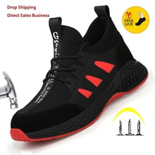 Men Shoes Sneakers Work-Boots Lightweight Steel Anti-Smashing Breathable with Toe-Cap