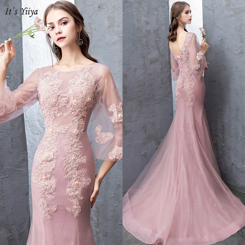 It's Yiiya Evening Dress O-Neck Plus Size Half Sleeve Women Party Dresses Appliques A-Line Floor-Length Robe De Soiree V069