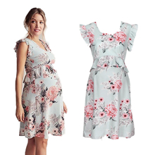 Loose Pregnant Women Summer Ruffle Dress Clothes Sleeveless Maternity Flower Nursing Pregnancy Casual