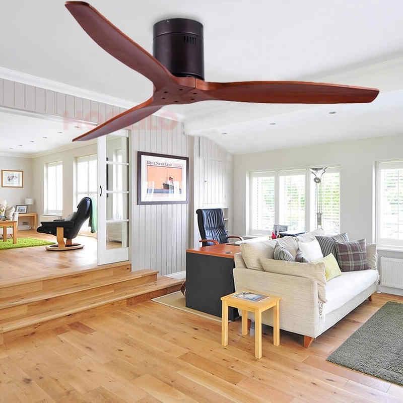 HOOLILO 2020 nuevo 7 colores de madera sólidas modernas cuchillas 110V 220V 52 pulgadas ventilador de techo Control remoto clásico Retro ventilador de techo