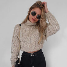 2019 Crop Top Sweater Women Winter Lantern Sleeve Pullovers Turtleneck Sexy Knit Jumper Sweater Casual Khaki Color Pull Femme(China)
