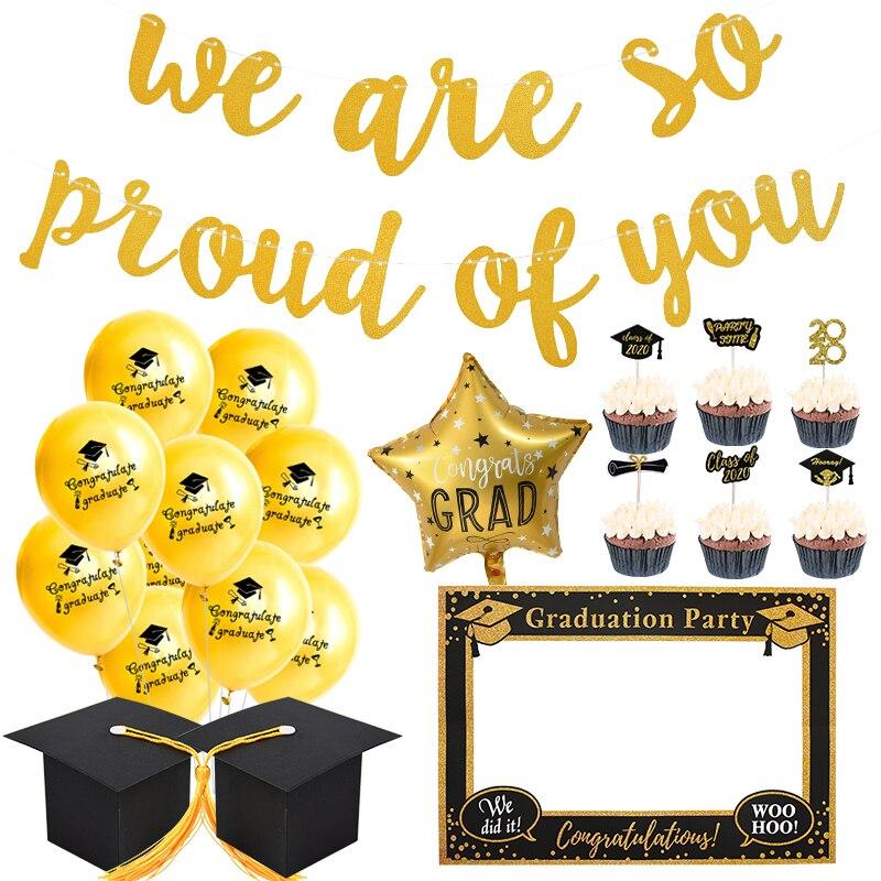 2021 Выпускные вечерние принадлежности Congrats Grad, мы так гордимся вами, гирлянда класса 2021, поздравление, выпускные украшения