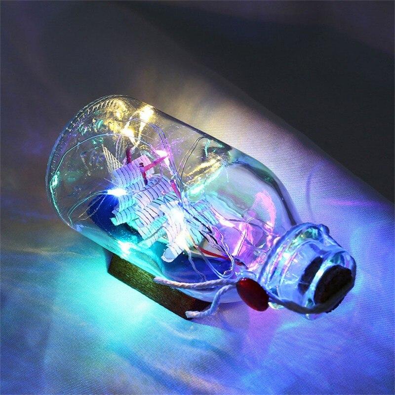 String Lights Bottle Illuminated Night Light Sailing Boat Box Copper Wire Light Wood Base Drifting Home Garden Decoration