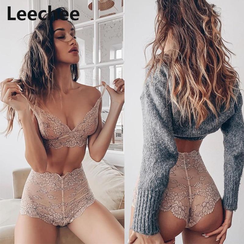 Leechee Women Erotic Lingeire Sets Sexy Lace Underwear Transparent Deep V Push Up Bra And High Waist Panties Babydoll Nightwear