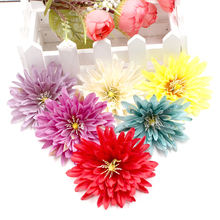 10pcs 7cm Dahlia Flowers Larg Artificial Flower Heads For Wedding Home Decor DIY Wreath Gift Box Clip Fake Flower Real Touch