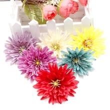 10pcs 7cm דליה פרחים Larg מלאכותי פרח ראשי לחתונה בית תפאורה DIY זר אריזת מתנה קליפ מזויף פרח מגע אמיתי