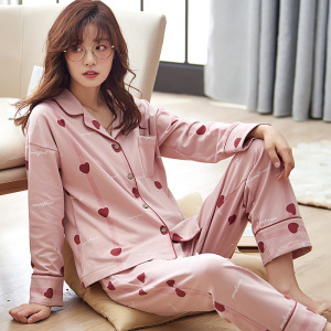 Image 2 - Autumn Winter Cotton Printing Lapel Top + Long Pant 2 Piece Sets Pajamas Set For Women Cute Sleepwear Pyjama Puls Size Homewear
