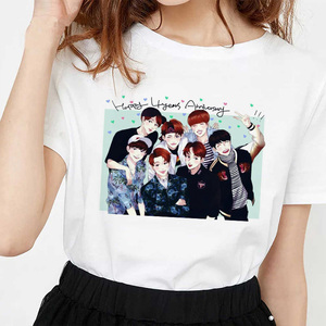 Korean Style Bangtan Boys Cartoon Image Tshirt Female T-shirt Ulzzang Harajuku JIN SUGA J HOPE JIMIN V JUNGKOOK T Shirt Women
