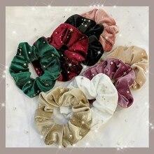 Hair Ties Hair-Accessories Scrunchies Retro Golden-Stars Ponytail-Holder Velvet Elastic