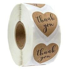 Autocollants de remerciement en forme de cœur, étiquette scrapbooking, 1 pouce, artisanal naturel, en forme de cœur, pour emballage, papeterie, 50 à 500 pièces