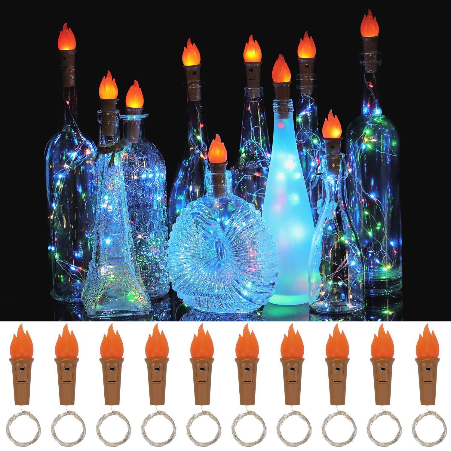 Bottle Lights Torch Top LED Wine Bottle Cork Lights Waterproof Wine Bottle String Lights For Indoor Outdoor Party Wedding Decor