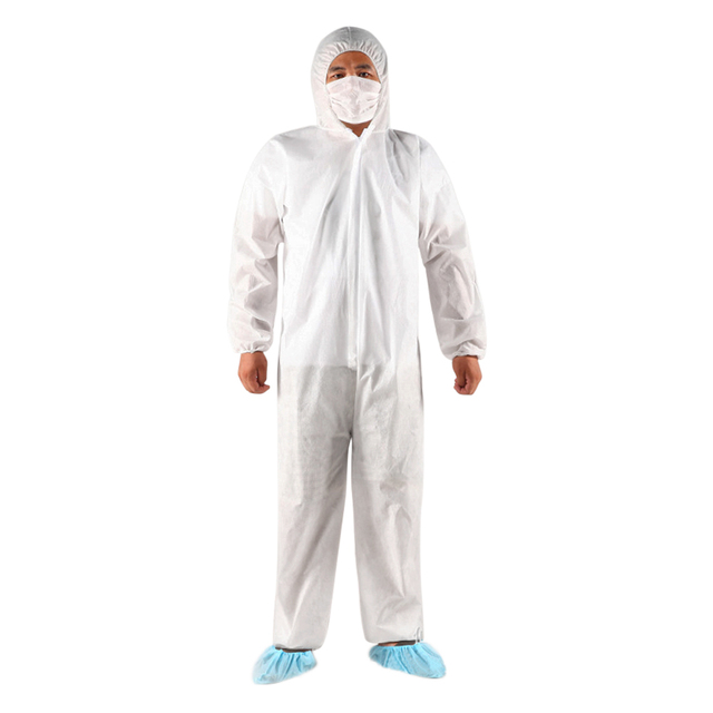10pcs/lot Non-woven Security Protection PPE SUIT Disposable Bandage Coveralls Isolation Gown Non-woven Dust-proof for Adult 4