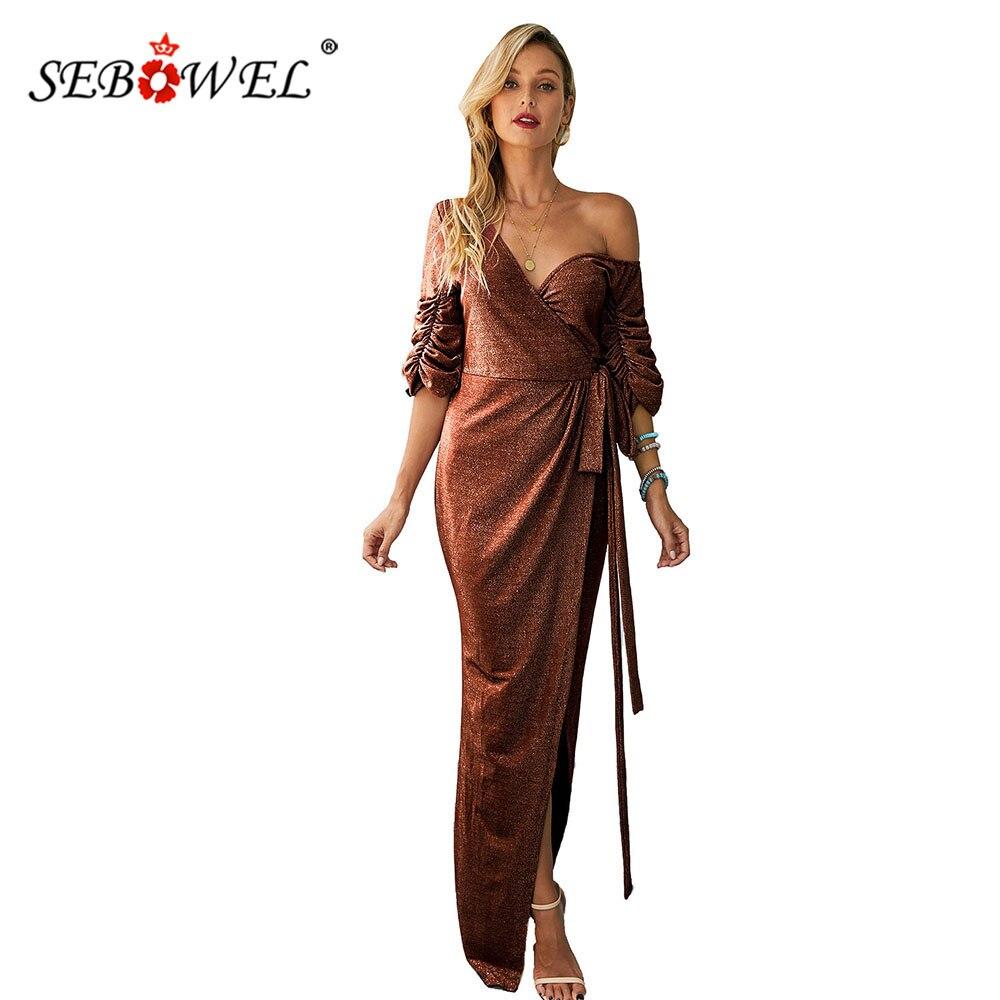 SEBOWEL col en V fendu Sequin soirée robe de bal robe enveloppée pour femme fête nuit froncé Puffy demi manches robes avec ceintures